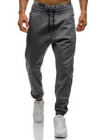 grüne leggings für männer großhandel-Sommer Herbst Männer Hosen New Fashion Slim Schwarz Grau Grün Elastizität Männer Casual Hosen Mann Hosen Designer Mens Jogger