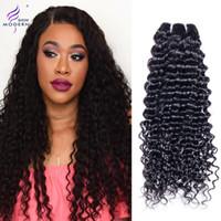 renk remi saç uzatma kıvırcık toptan satış-4 Paketler Brezilyalı Kıvırcık Örgü Brezilyalı Virgin İnsan Saç Paketler Doğal Siyah Renk Saç Uzantıları Olmayan Remy Saç