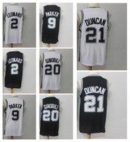 Wholesale manu black - 21 Tim Duncan 2 Kawhi Leonard 9 Tony Parker 20 Manu Ginobili Men's Basketball Jerseys 2018 Season Fan version Jersey Men polo shirt