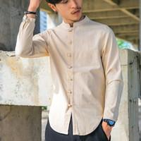 camisa de linho do fu do kung venda por atacado-Homens de algodão camisas de linho de manga longa estilo chinês colarinho mandarim tradicional kung fu tang camisa casual social marca clothing