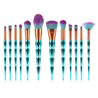 grünes gesicht make-up großhandel-12 STÜCKE make-up pinsel set Diamant Grün griff Kosmetikpuder Kosmetik Gesicht Erröten Make-Up Pinsel Set augenbraue Foundation Tool TM031