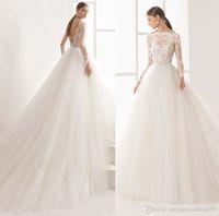 Wholesale Transparent Train Wedding Dresses - tulle skirt long sleeves princess wedding dresses 2018 rosa clara wedding dresses boat neckline transparent lace bodice chapel train