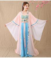 ingrosso costumi cinesi antichi donne-2018 estate danza costumi donna maniche lunghe top danza classica cinese costume acqua ragazza hanfu principessa abito antico fata