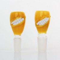 dudaklar duman toptan satış-Yeni sarı dudak Kase 14mm 18mm Kase Cam ile benzersiz Tarzı Kalın Pyrex Cam Kase sarı Tütün Ot Su Bong Parça için Sigara