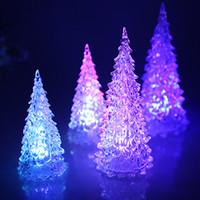 árvores de natal conduzidas acrílicas venda por atacado-Criativo colorido do fabricante LED Mini Árvore De Natal De Cristal Simulação De Desktop Iluminação Acrílico Árvore De Natal Flash Árvore
