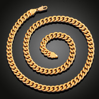 Wholesale Sideways Crosses Necklace - 2018 Fashion Men Women 18k Gold plated Necklace 8mm 6mm 24inch Exquisite Sideways Chain Party Gifts cross Jesus pendant Accessories N5003