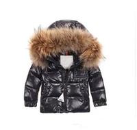 abrigos de piel de las niñas chaquetas al por mayor-marca M Kids Down Jacket Boys Girls 95% White Duck Down Coat Niños con capucha de piel de mapache Bebé Espesar Warm Down Coat