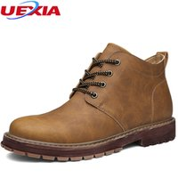 Wholesale male booty - UEXIA New Arrival Basic High-Top Leather Luxury Men Snow Boots Flats Men Boots Warmest male Leather ankle man booty business 11