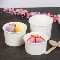Wholesale paper ice cream cups - 4 Oz Disposable Ice Cream White Paper cup food Paper bowl Snowsludge Cup Party Supplies T3I0274