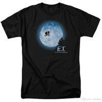 ingrosso bicicletta lunare-2017 Vendita calda moda E.T. T-shirt Flying Bicycle Across The Moon E.T. T-shirt da uomo volante attraverso la luna