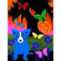 Wholesale dog oil paintings canvas for sale - Group buy High Quality Large Handpainted HD PrintGeorge Rodrigue Animal Blue Dog Art Oil Painting on Canvas office Wall art Decor Multi Sizes a179