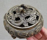 Wholesale dragon sheets - Chinese Favorites Bronze statue dragon Collectibles incense burner  Censer