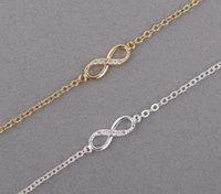 armband charme zahlen großhandel-Entwerfen Sie Schmucksachearmbänder Charme für Frauen mit Kristallstein-Armband-Unendlichkeits-Nr. 8 Ketten-Armbändern bileklik freies Verschiffen