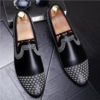 Wholesale Hot Club Heels - 2018 Hot sales Luxury men leather loafers slip-on Business loafers stitchwork club stylist leather shoes Mens Wedding Dress Shoes N205