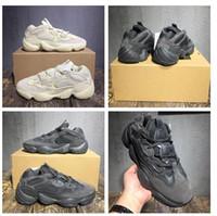 fare renkleri toptan satış-Adidas Yeezy Boost 500 Kutu Ile 3 Renkler 500 Allık Süper Ay Sarı Programı Üçlü Siyah Çöl Sıçan 500 Koşu Ayakkabıları Sneakers