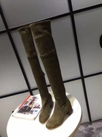 botas de cuero marrón al por mayor-Moda femenina de largo tramo con cuentas sobre la rodilla botas de tacón cuadrado dentro de cuero gree + negro + botas largas marrones