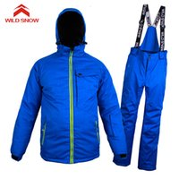 сноубординг лыжная одежда оптовых-Wild Snow  Ski Suit Men Winter Waterproof Windproof Thicken Warm Snow Clothes Ski Sets Jacket Skiing And Snowboarding Suits