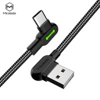 кабели с прямым углом оптовых-90 градусов под прямым углом плетеный USB C USB-C тип C тип-C кабель для зарядки и синхронизации данных со светодиодной подсветкой