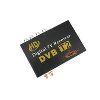 antenas de tv digital para autos al por mayor-TV del coche del receptor sintonizador de TDT HD DVBT2 de alta velocidad Doble antena DVBT2 digital con DVBT2 y H.264 cuadro t2 MPEG-4 MPEG-2 DVB