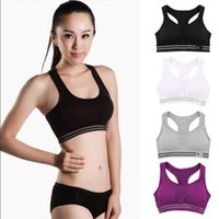 Wholesale Padded Racerback Bra - Women Sport Seamless Racerback Bra Yoga Fitness Padded Stretch Workout Top Tank Top Active Vest Shaper Push Up Underwear 5 Colors OOA4467