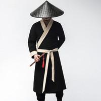falda de danza del vientre azul real al por mayor-Nuevos disfraces de Halloween Carnaval Hombres Caballeros Oficial Soldado Uniforme Cosplay chino antiguo Hanfu traje negro vestido masculino