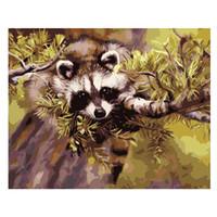 hayvan çizim boyası toptan satış-DIY Yağlıboya resim Çizim Rakam Ile Rakam Rakam Kendiniz Yapmak 40 CM * 50 CM Komple Aracı Panda Hayvan Odası Duvar Dekorasyon Komik Doğru