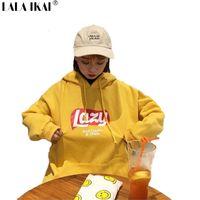 Wholesale Korean Hooded Jacket - Korean Version Loose Hooded Harajuku Thick Coat Jacket Lazy Tops Sweatshirt Women tracksuit Fleece Hoodies Sweatshirt SWI0306-4