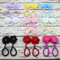 Wholesale pearl toe ring resale online - Flower Sandals Simulated Pearl Anklets Newborn Baby Girls Foot Band Toe Rings First Walker Barefoot Sandals Anklets Kids KFA42