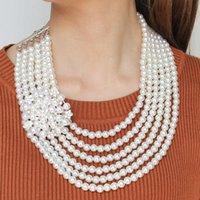 colliers pièce de déclaration achat en gros de-ashion Bijoux Collier Manilai tendance multi couche Simulé perle Colliers pour les femmes de mariage Déclaration de bijoux strass fleur Beade ...