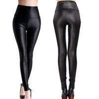 wholesale leather leggins Australia - women leggings faux leather high quality slim leggings plus size High elasticity sexy pants leggins s-xl leather boots 2017 N
