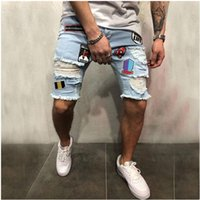 jeans shorts de joelho venda por atacado-Hip Hop Mens Rasgado Buraco Shorts Jeans Zipper Na Altura Do Joelho Streetwear Denim Jean Patches Padrão Angustiado Azul Jeans Masculino Shorts Jeans Pant
