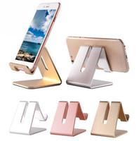 soporte de teléfono celular de escritorio al por mayor-Universal Aluminio Metal Tabletas de Teléfono Celular PC Soporte de Escritorio Soporte Holder Soporte Para iPhone 6 6S 5S SE Para Galaxy Note 5 MQ30