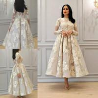 vestido de noiva do pescoço da ilusão do comprimento do chá venda por atacado-Ilusão Pescoço Africano A Linha De Vestidos De Casamento Com Mangas Compridas Lace Apliques de Chá Comprimento Vestidos De Noiva Arábia Árabe Vestidos de Casamento Plus Size