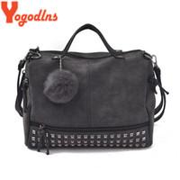 Wholesale motorcycle vintage messenger bag - Yogodlns Vintage Leather Bags for Women Rivet Large Capacity Handbags Fur Ball Shoulder Bag Motorcycle Crossbody Messenger Bag