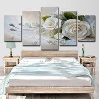ingrosso immagini delle rose di fiori-Canvas HD Prints Pictures Modulari Wall Art Poster 5 Pezzi White Roses Flowers Paintings per soggiorno Home Decor