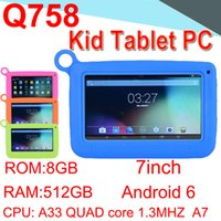 Wholesale Q758 Kids Brand Tablet PC quot Quad Core Children Tablet Android4 MB GB A33 Google Player Camera WIFI Speaker Protective ECPB