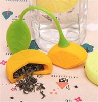 en forma de tetera al por mayor-Colador de té de tetera Silicona Forma de limón Bolsita de té Colador de hoja de té Infusor Tetera Bolsa de filtro de taza de té Herramientas de filtro de estilo limón