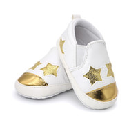 Wholesale summer infant sale - 2018 Hot sale pu leather bling sequins stars baby shoes moccasins Infant Toddler boys girls first walkers sneakers for 0-18M