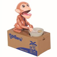 Wholesale Money Eating Piggy Bank - Stealing Monkey Coin Bank Money Saving Box Piggy Bank Funny Cute Hungry Robotic Monkey Eat Coin Piggy Bank Creative Gift F