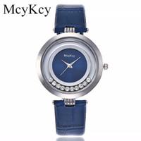 часы для женщин серебристый оптовых-Vansvar  Women Rhinestone Silver Dial Quartz Watch Leather Strap Bracelet Watch  Creative Women Watches Montre Femme