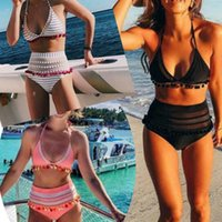 Wholesale Bikini Bra Push Up - 3 Colors Women Waist Tassel Bikini Sexy Swimwear Summer Beachwear Push Up Bikini Set Beach Bras Swimsuit Bathing Suits AAA356
