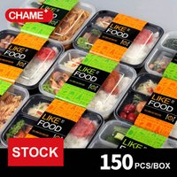 Wholesale fast food packages online - STOCK ml Plastic Lunch Boxes Disposable Fast Food High grade Three Black And White Boxes Packaging Take away Meals Boxes Free DHL SF
