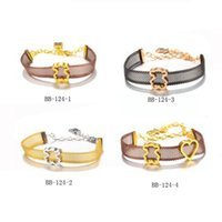 Wholesale mesh cuff - New edition 4 colors Women fashion stainless Bear charms hollow mesh net belt chains Bracelet Party Gift Jewelry Pulsera Mujer