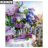 Wholesale flower embroidery patterns - KEXINZU 5d diy flower diamond painting cross stitch kits diamond embroidery flower basket picture mosaic pattern home decor GIFT