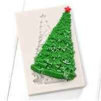 Wholesale Silicone Christmas Cake Molds - Wholesale-Christmas Silicone Molds Christmas Tree Cake Decorating Fondant Mold Candy Chocolate Gumpaste Moulds Bakeware YB200322
