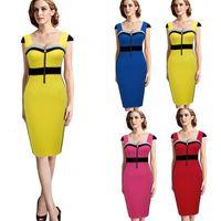 sarı siyah patchwork elbise toptan satış-Yaz Sarı Ve Siyah Colorblock Casual Bodycon Kılıf Elbiseler Ön Fermuar Çalışma Giymek Iş Patchwork Kadınlar Elbise