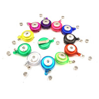 Wholesale Wholesale Retractable Name Badge - Retractable Ski Pass ID Card Badge Holder Reel Pull Key Name Tag Recoil Reel Fit 18MM Snap Button Jewelry For School Hospital