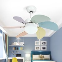 Wholesale Pink Store Clothes - Modern Children Room Ceiling Fan Lamp Bedroom Fan Simple Restaurant Living Room Cafe Clothing store Color Lamp Free Shipping