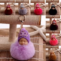 ingrosso le corone della bambola-19 Stili Corona Dormire Baby Doll Portachiavi Pompom Palla di Pelliccia di Coniglio Portachiavi Auto Portachiavi Donne Portachiavi Borsa Pendente Accessori di Fascino G250Q