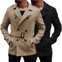 çift göğüslü trençkot ceket erkek kış toptan satış-İngiliz erkek Yün Ceket Siper Uzun Palto Kış Sıcak Turn-Aşağı Yaka Kruvaze Slim Fit Ceketler Dış Giyim Hombre Moda